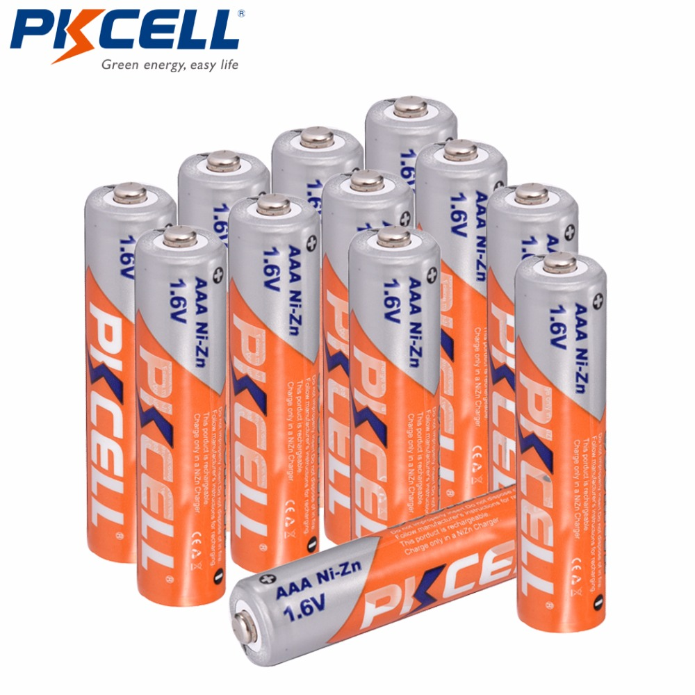 12 pièces/PKCELL ni-zn AAA batterie 900mWh 1.6V NIZN AAA piles rechargeables pour jouets caméra phare