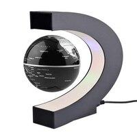 Home Decoration LED Floating Tellurion Globe Shape Magnetic Levitation Light World Map Tellurion Black UK Plag #LO