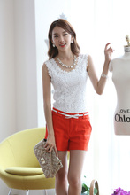 2017 plus measurement new girls causal cotton knitted lace vest crop tops T-shirts patchwork crew neck sleeveless tees fundamental tank tops
