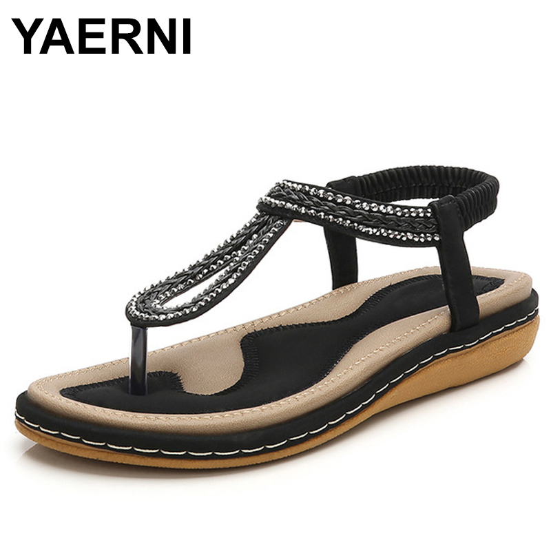 YAERNI Summer Women Flat Gladiator Sandals Shoes Woman Bohemia Flip Flop Crystal Weave 2018 Casual Beach Sandals 35-44 hee grand bohemia flip flops summer gladiator sandals beach flat shoes woman comfort casual women shoes size 35 42 xwz4429