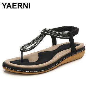 6b67c77a388362 YAERNI Summer Flat Gladiator Sandals Shoes Woman 2018 Beach