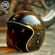 Motorcycle Carbon Fiber 3/4 Open Face Vintage Helmet Street Cafe Racer for Halley Moto Casco Half Summer ECE