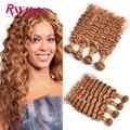 RXY Hair Brazilian Deep Wave Brazilian Hair 4 Bundles 7A Honey Blonde Deep Curly Brazilian Hair #27 Brazilian Human Hair Bundles