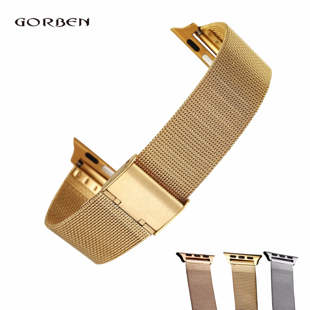 For Apple Watch Band 42mm Silver Gold Stainless Steel Mesh Bracelet Buckle Strap Clip Adapter For Smart WatchBand 38mm for Watch for stainless steel strap classic buckle adapter link bracelet watch band for apple watch