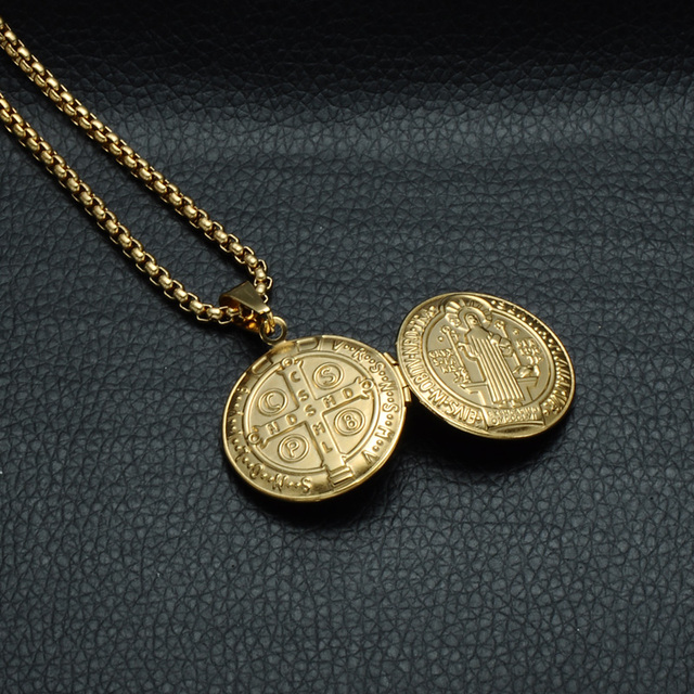 D&Z San Benito Holy Medal Pendant Gold Stainless Steel Can Open Photo Frame Pendants & Necklaces for Religious Jewelry