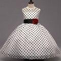 Moda 2016 Diseñador Bebé Niños Negro Dots Flor Muchachas de la Princesa Del Desfile de la Fiesta Formal Bodas Vestidos 1
