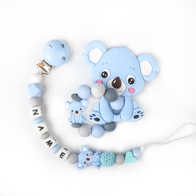 Baby Teether Bracelet Food Grade Silicone Chews Nurse Gift Toys Koala Teething Necklace pacifier clip with name DIY BABY custom | Happy Baby Mama