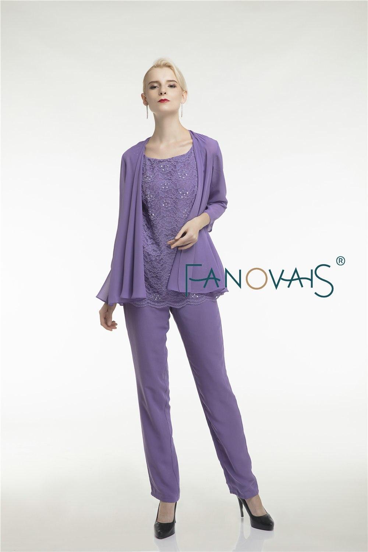 Purple krajka Matka nevěsty šaty kalhoty oblek tři kusy šifon - Šaty pro svatební hostiny - Fotografie 4