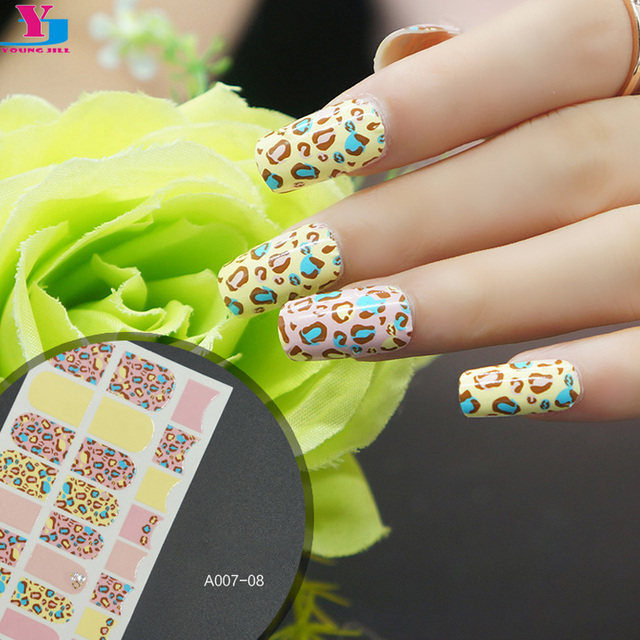 2016 New Cute Leopard Design Nail Art Sticker DIY French Adesivi Unghie UV Gel Nail Polish Tools Full Cover Nail Art Accessoires-in Stickers & Decals ...