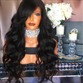 Объемная Волна 180% Плотность Полный Шнурок Glueless Парики Сырье Индийского Реми Густые волосы Объемная Волна Передний Парик Шнурка Для Чернокожих Женщин Человека волос