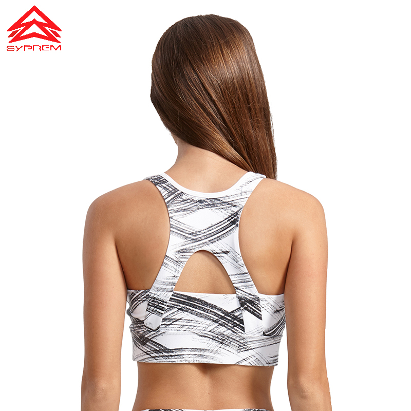SYPREM Sports Bra 2017 Fitness Bronzing pattern Sports bra top Shockproof Shapes Quick dry Run top Yoga bra sports top,1FT0022 striped trim sports bra