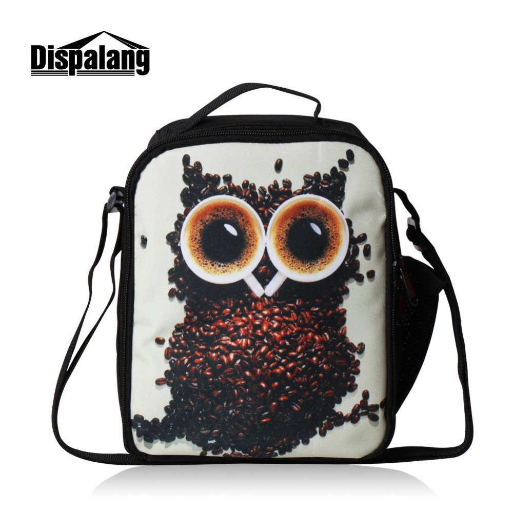 Novelty 3D Coffee beans Thermos Lunch Bags for Girls Owl Insulated Lunch Bags for Kids Women Small Lancheira Food Snack Bag