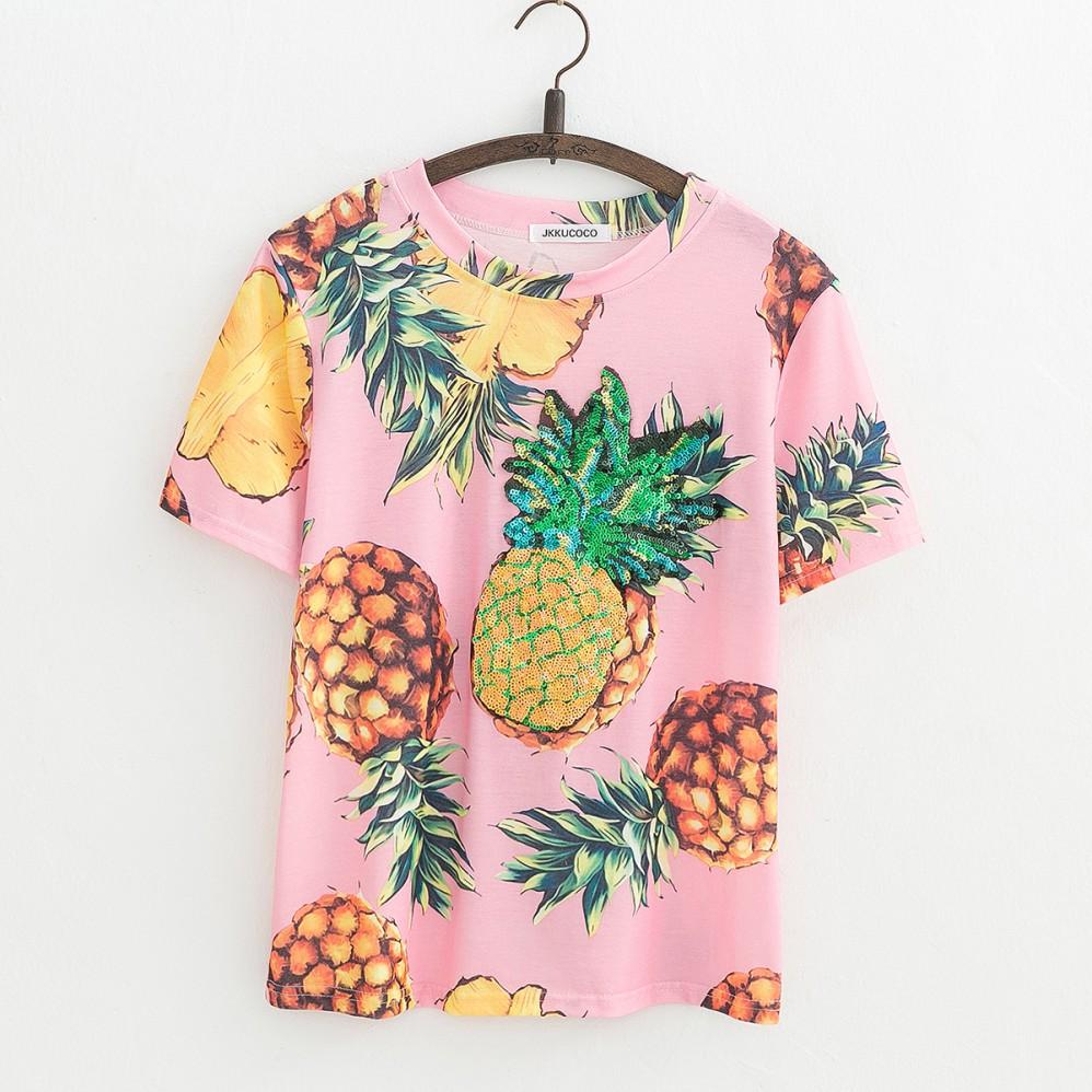 HTB1UwjDQVXXXXbRXVXXq6xXFXXXV - Top Hot Sequined Print Pineapple Women t shirt Short Sleeve