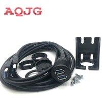 LBSC 2 Ports Dual USB 3 0 Extension AUX Flush Mount Car Mount Extension Cable For