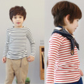 100% Cotton Children's Striped Long Sleeve T-Shirt, Boys' O-Neck Tops Tees Clothes, For Height  100-140cm