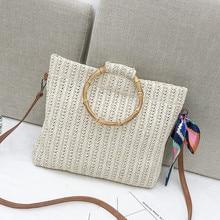 2019 Knitted Shoulder Bag Summer Straw Silk Scarf Beach Tote Bags for Women Handbag Bow Ladies Hand Bags Luxury Bag Bolsa Female недорого
