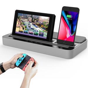 Image 4 - Base de carga multifunción Estación de enchufes, soporte con altavoz de Audio para Nintendo NS Switch/teléfono móvil/tabletas