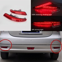 2PCS Rear Bumper Reflector Car Styling LED Brake Lights Stop Fog Warning Lamp Bulbs For Nissan