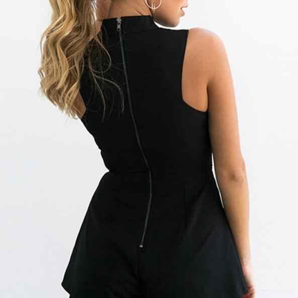 2018 летний женский боди в деловом стиле с v-образным вырезом и вышивкой, элегантный сексуальный короткий комбинезон, черно-белый комбинезон AF656