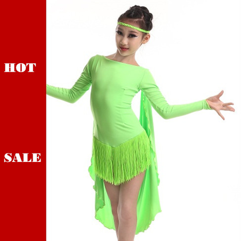Picture of Colorful Cloak Latin Dance Dress For Girls Children Tassel Tango\/Rumba\/Chacha Dance Competition Costumes Practice Dress
