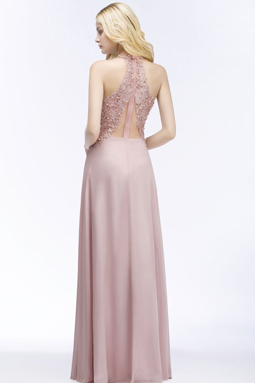 Elegant A Line Illusion Back with Pearls Floor Length Evening Dress 3