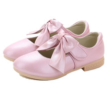 Bow Girls Leather Shoes Kids Dress Shoe Little Girl Wedding Princess Shoes Children Flat Party Shoes 3 4 5 6 7 8 9 10 11 12 Year