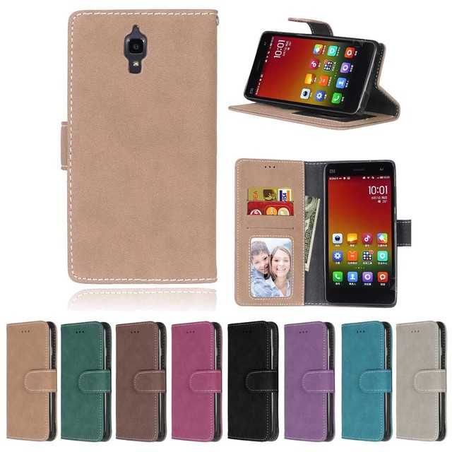 E-SKY cover for Xiaomi 4 Xiao Mi 4 MI4 M4 case for Xiaomi Mi 4i 4c Mi4i Mi4c M4i M4c case 3 card slots wallet matte PU cover