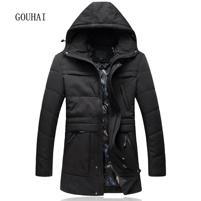 L-7XL Men   Parkas   Hooded Solid Mens Winter Jacket Male Plus Size 2019 Brand Clothing Man Long Coat Fur Collar Overcoats Male