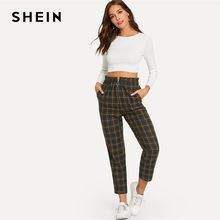 SHEIN Green Office Lady Elegant Exposed Zip Fly Plaid Peg Mid Waist Carrot Minimalist Pants 2018 Autumn Casual Women Trousers