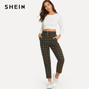 Image 4 - SHEIN Green Office Lady Elegant Exposed Zip Fly Plaid Peg Mid Waist Carrot Minimalist Pants 2018 Autumn Casual Women Trousers