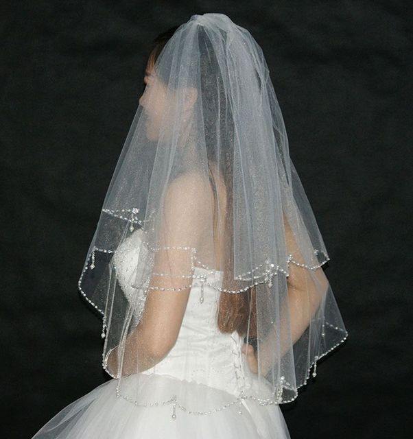 Bling Wedding Veils With Crystal Beaded Edge Bridal Veil 2016 White Wedding Accessories For Women Short Veil Two Layer RealPhoto