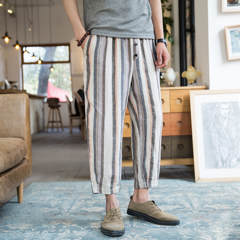 Summer Joggers Men Pants Stripe Print Calf Length Loose Baggy Harem Pant Trousers Male HipHop Wide Legs 5XL Plus Size Pockets