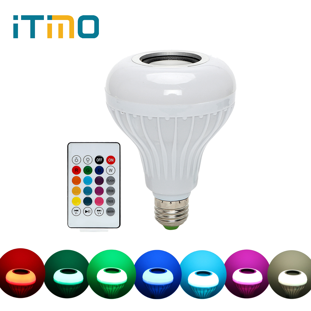 iTimo Dimmable E27 RGB RGBW LED Bulb Music Playing Light Atmosphere Lamp Smart Wireless Bluetooth Speaker Bulb Remote Control цена 2017