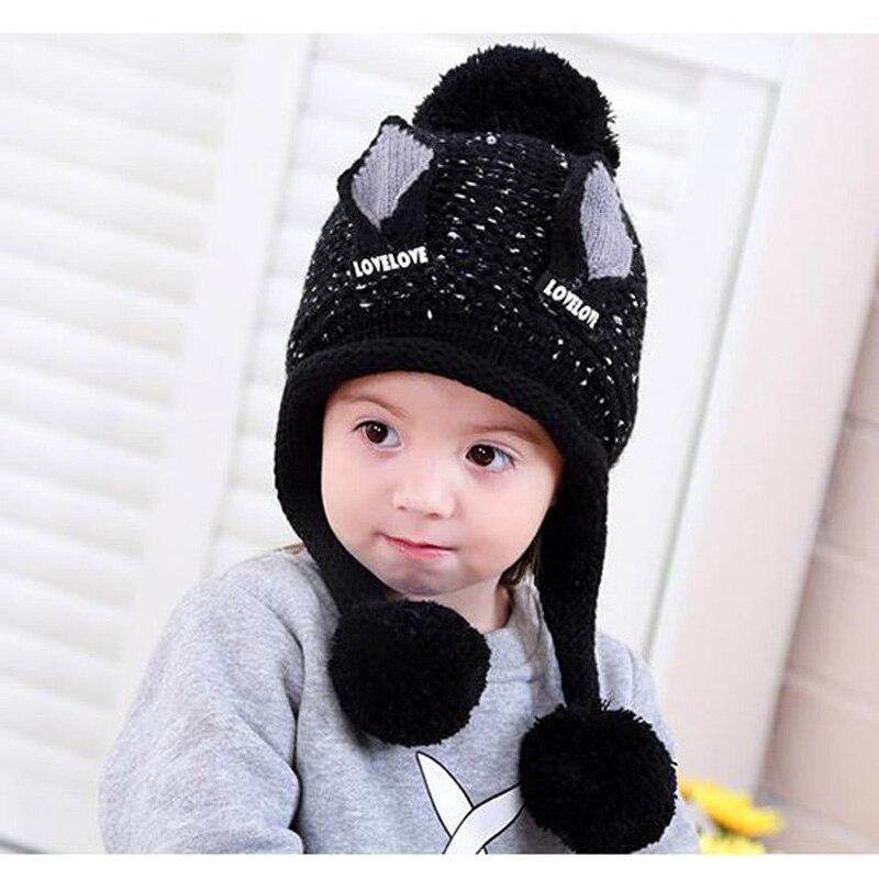 Doitbest/бархатные шапки для мальчиков от 2 до 6 лет, шерстяные шапки с кошачьими ушками однотонная зимняя вязаная шапка для маленьких детей, детские шапки с ушками для девочек - Цвет: Черный
