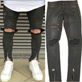 Fashion cool Streetwear Mens Slim Jeans Ankle Zipper Denim Jeans big Hole Skinny Jeans jogger Pants