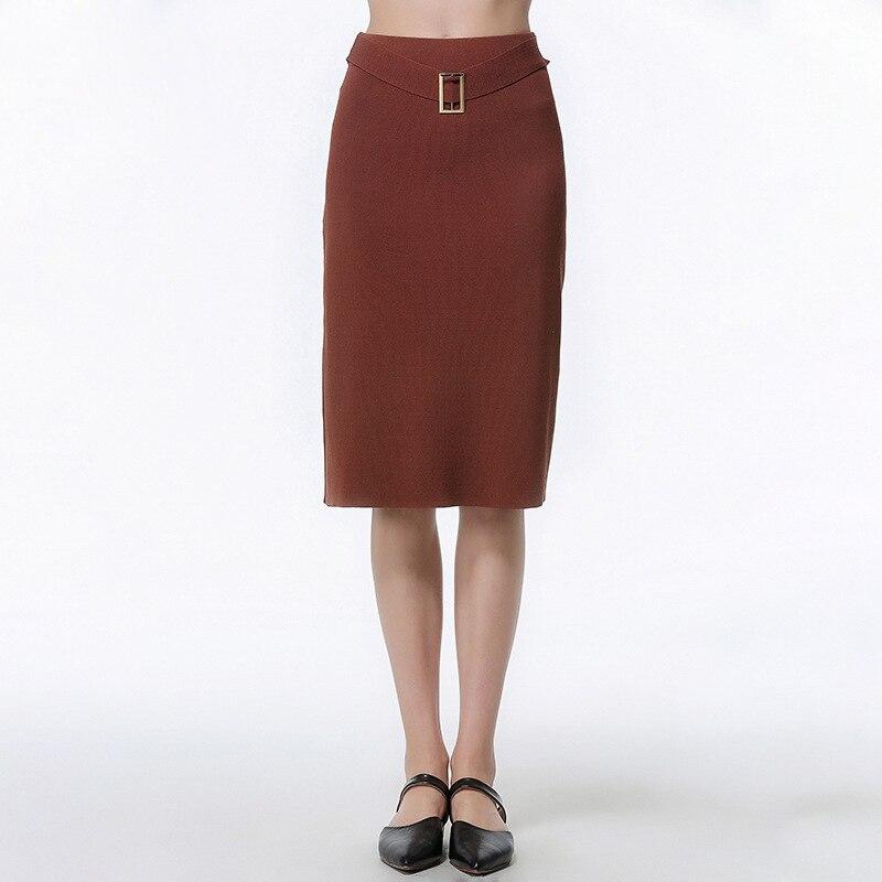 2019 mode décontracté longue jupe femmes café élasticité taille haute droite Femme formelle genou-longueur jupes tricoté jupe - 2