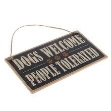 Placa de madera para colgar con cordel de yute para perros Vintage