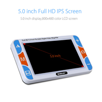 RS500S Portable 5 3X 48X LCD 800X480 Video Digital Magnifier Reading Aid For Low Vision USB Cable Playback On Computer