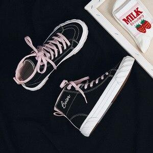 Image 3 - Zapatos de lona para mujer, zapatillas informales transpirables de un solo alto, para Primavera, 2020