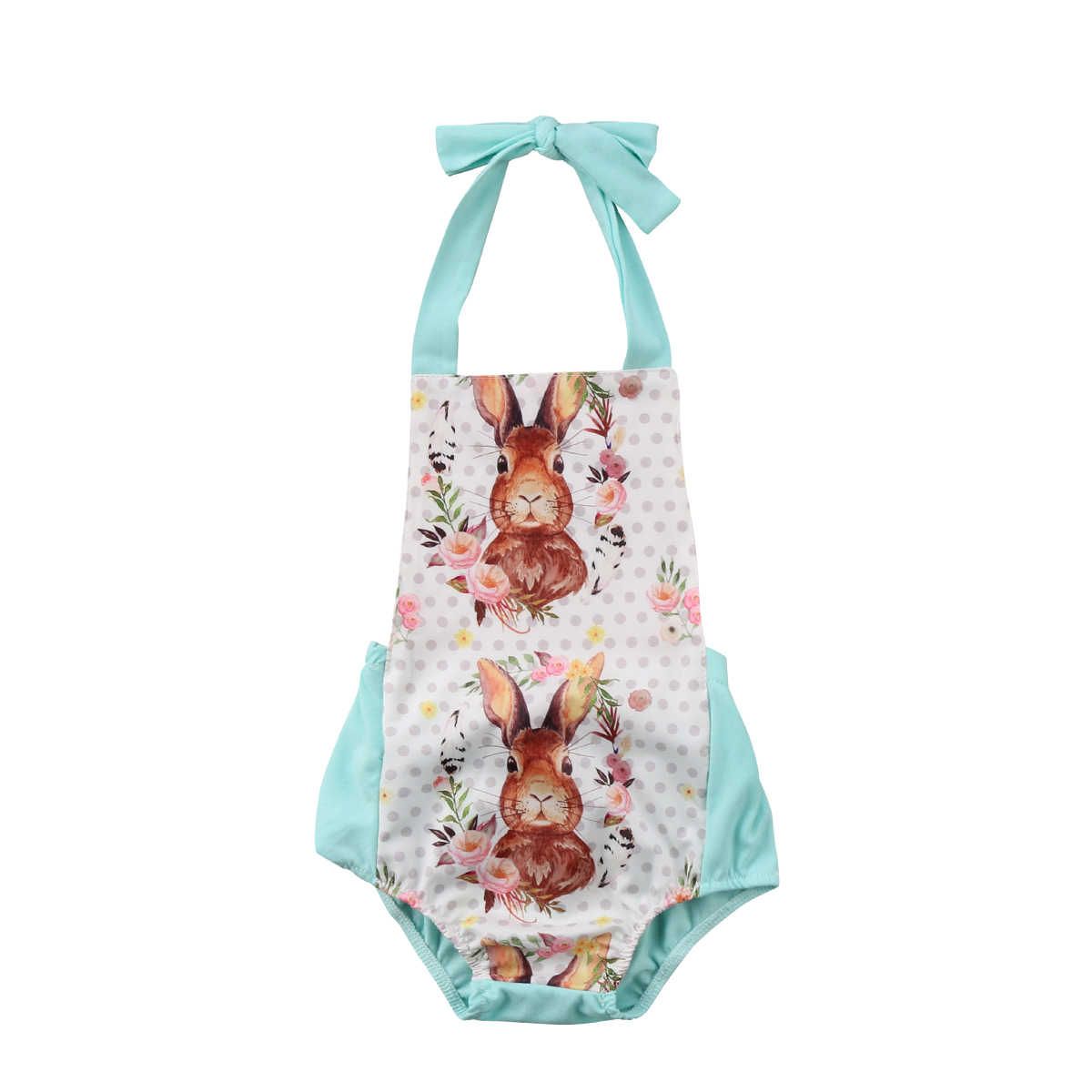 6ea9f78317e Easter Newborn Baby Girls Sleeveless Halter Romper Rabbit Jumpsuit Outfits  Baby Clothing