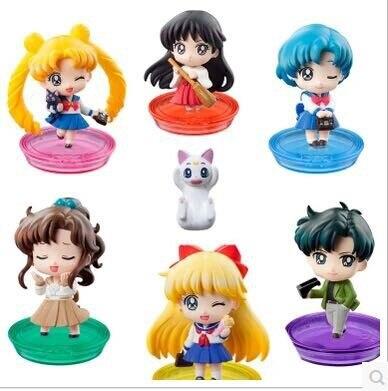 6pcs/set <font><b>Sailor</b></font> <font><b>Moon</b></font> <font><b>Q</b></font> <font><b>version</b></font> <font><b>Tsukino</b></font> <font><b>Usagi</b></font> <font><b>Anime</b></font> Collectible Action Figure PVC toys for christmas gift with retail box