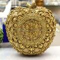 Women Shiny Golden Glitter Hollow Out Diamond Crystal gold Apple Evening Clutches Metal Clutch Bag Shoulder Handbag (88307-D)