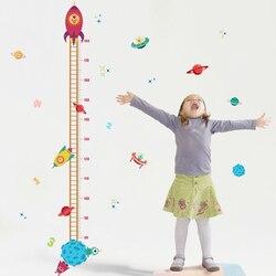 Cartoon Rocket height Chart Ruler Wall Sticker for kids rooms nursery bedroom Home Decor Mural Art Decals Wallpaper stickers