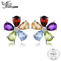 JewelryPalace Flower 4 3ct Multicolor Amethystss Citrines Garnets Peridots Blue Topazss Stud Earrings 925 Sterling Silver
