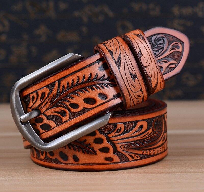 Новейший мужской ремень роскошные ремни из коровьей кожи для мужчин винтажные классические ремни с пряжкой из сплава коричневого цвета Прямая поставка - Цвет: red brown