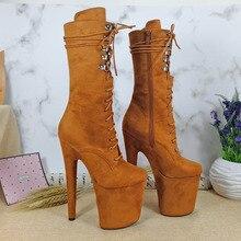 Leecabe/Новейшая Обувь для танцев на шесте 20 см, сапоги на платформе с высоким каблуком, сапоги для танцев на шесте из замшевой ткани с открытым носком