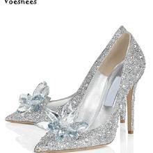Женские туфли-лодочки Золушки на высоком каблуке с острым носком и серебристой подошвой; кожаные свадебные туфли со стразами; женские свадебные туфли