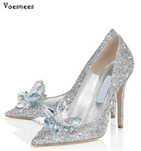 details for store later US $44.4 40% OFF|Cinderella Glass Pointed High Heels Crystal Silver Bottom  Women Pumps Leather Rhinestones Wedding Shoes Woman Ladies Bridal Shoe-in  ...