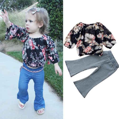 2018 Yeni Bahar Sonbahar Tarzı Sevimli Bebek Kız Kıyafetler Setleri Çiçek şifon üstler Uzun Kot Pantolon Çocuk Rahat Moda Giyim Setleri