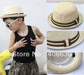 Pop niño summer sun de la paja, sombrero del cabrito cubo, bowler cap, del sombrero de fedora, 10 unids/lote, envío gratis por correo aéreo de China